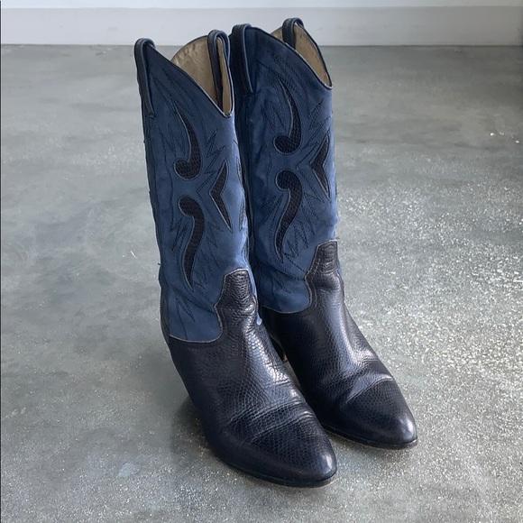 eaa63698ab5 Italian Vintage Navy Blue Leather Cowboy 🤠 Boots